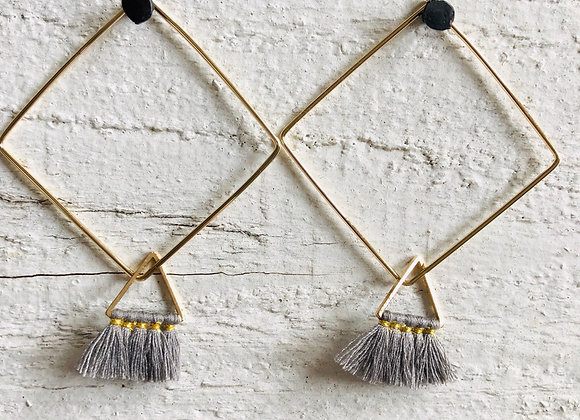 Grey Triangle Tassel on gold square