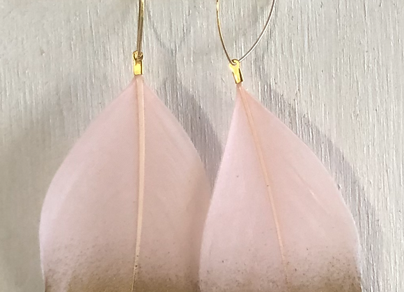 """Gold Dipped Peach 4"""" Feather on Hold Oval"""