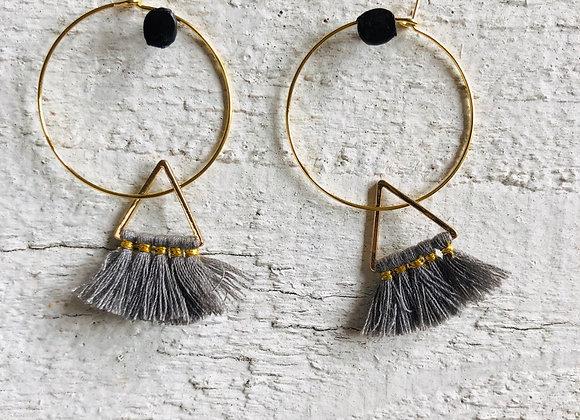 Grey Triangle Tassel on gold hoop