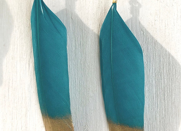 """Gold Dipped Teal 3"""" Feather"""