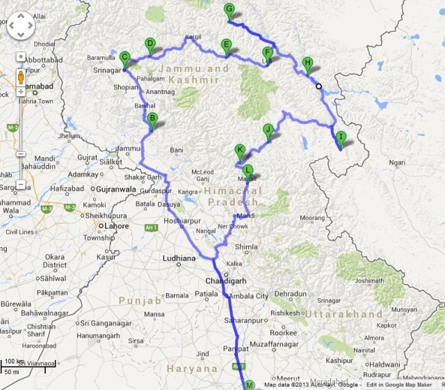 Mesmerizing trip to Himalayas - The route