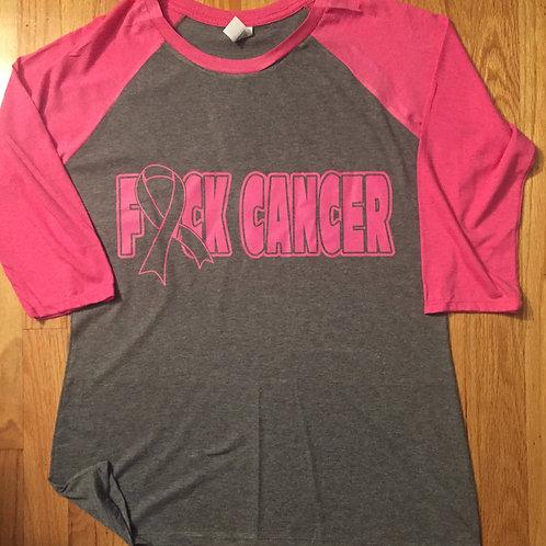 F&ck Cancer Women Baseball Pink Tee