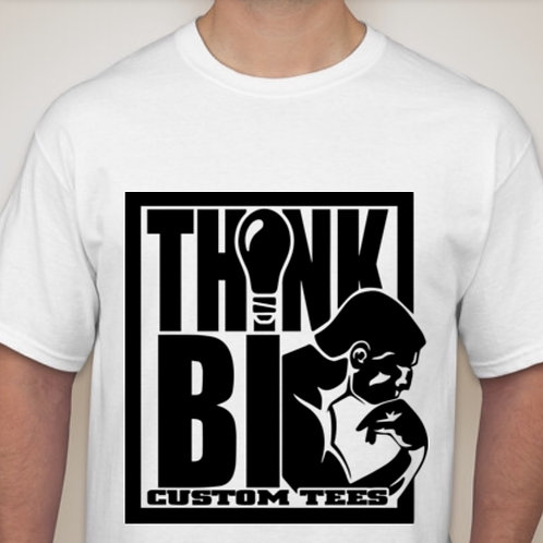 white tee with classic ThinkBig logo