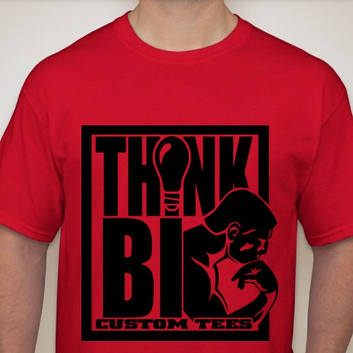 red tee with classic ThinkBig logo