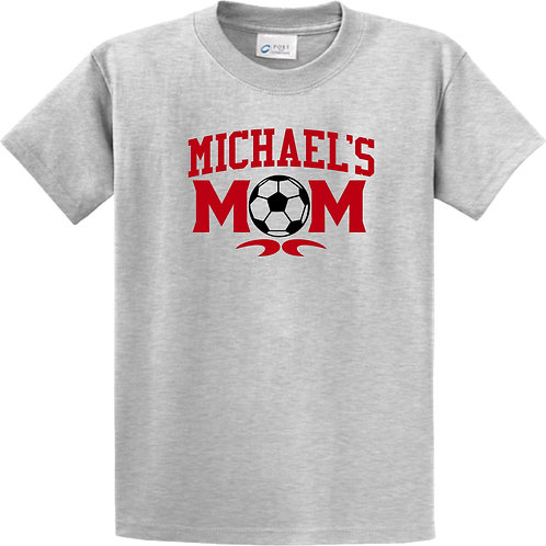 basic grey tee with soccer mom graphic