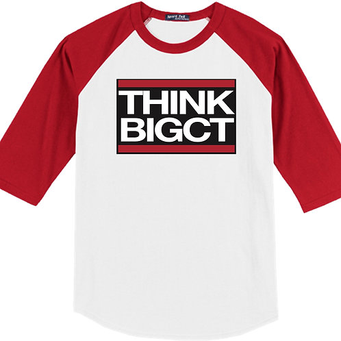 Classic red baseball tee with ThinkBigCT logo