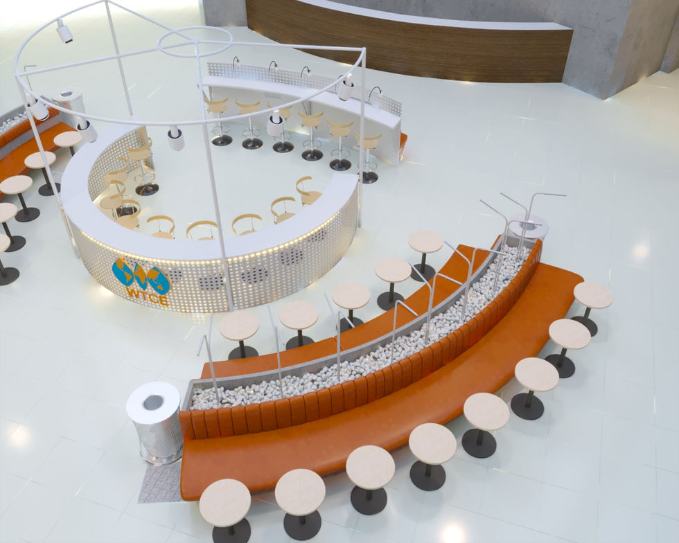 в холле бизнес центра Panorama разработана концепция места ожидания, с возможностью выпить хороший кофе, провести встречу и поработать.