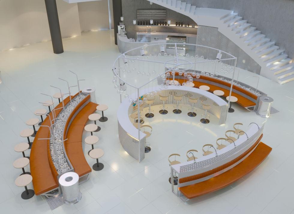радиусная архитектура здания при создании проекта дала развитие круглым формам