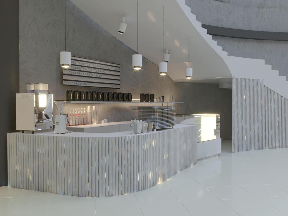 кофейный бар размещен под лестницей.  закрытая часть стала подсобкой. общая серая гамма, органично вписана в существующие бетонные стены
