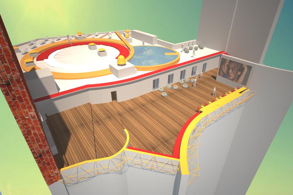 """Кино, бассейн, пляж, лекторий на крыше кинотеатра """"Салют""""."""