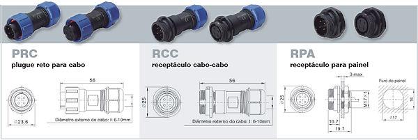 Conector circular plástico