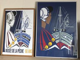 Musée de la Pêche 60 ans- affiche d'après une découpe papier