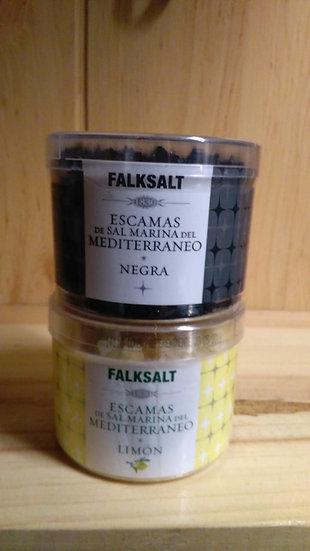 Escamas de sal marina, negra y limón