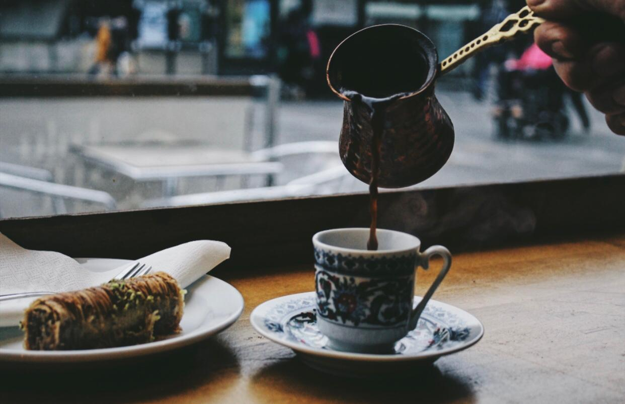 Turkish coffee and baklawa