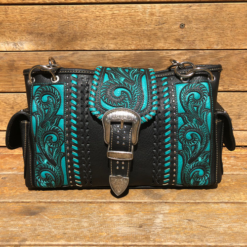 Black Western Chain Link Montana West Handbag