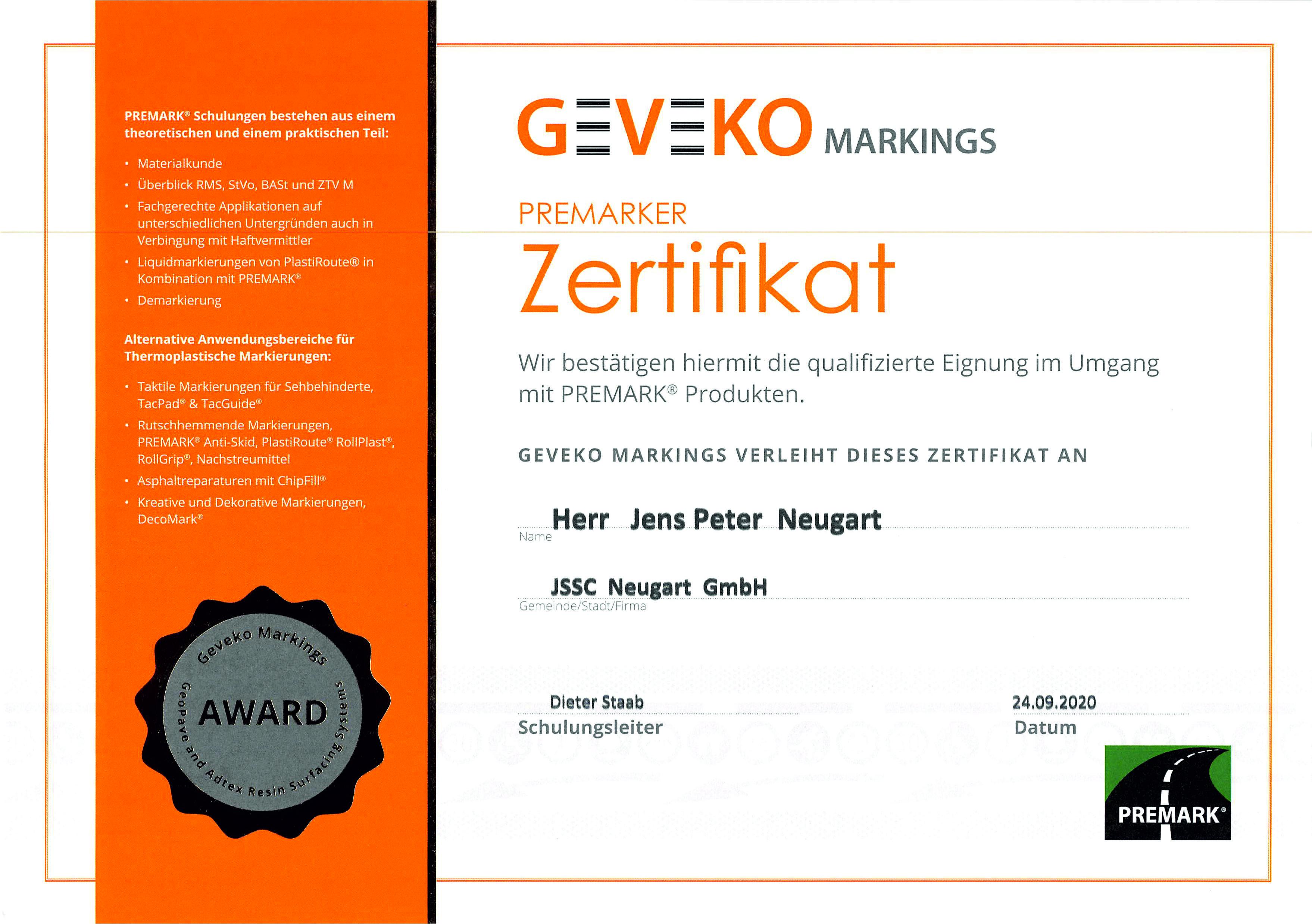 Zertifikat_Premarker Schulung Jens-Peter