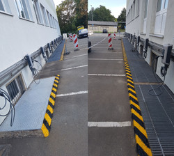 Parkplatzmarkierung Stolperkante TEAG