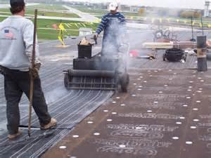 hot tar & fiberglass roof