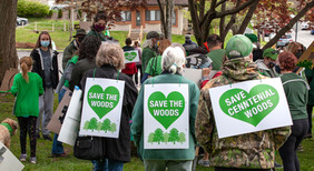 """Three people from the back wearing signs """"Save the Woods"""""""