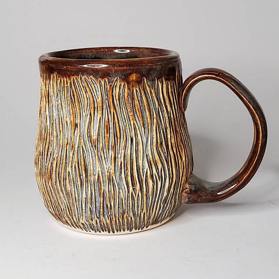 Carved Brown Mug