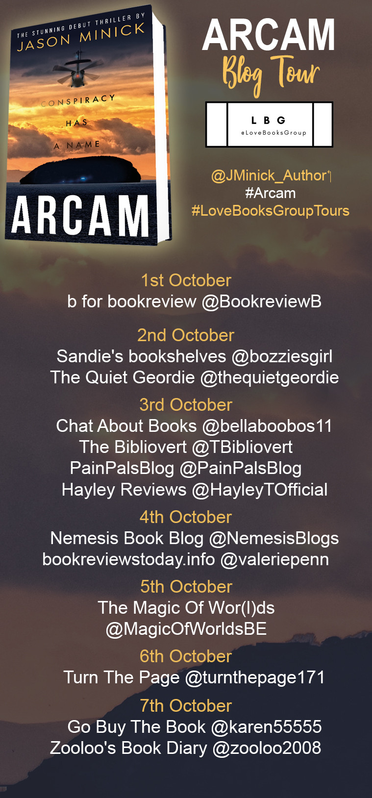 Hello readers! Today is day-one of the blog tour for Arcam. Why not follow the tour and find out what the bloggers think?