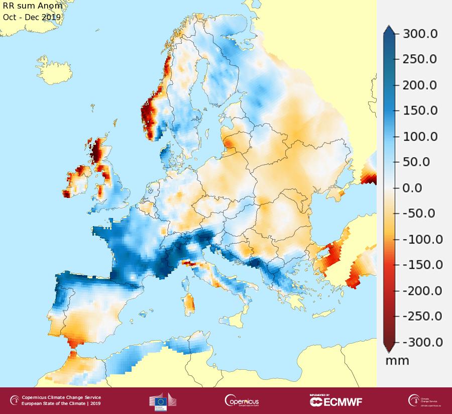 Écarts de précipitation (mm) pour octobre à décembre 2019 par rapport à la moyenne des précipitations sur la période octobre-décembre entre 1981 et 2010.