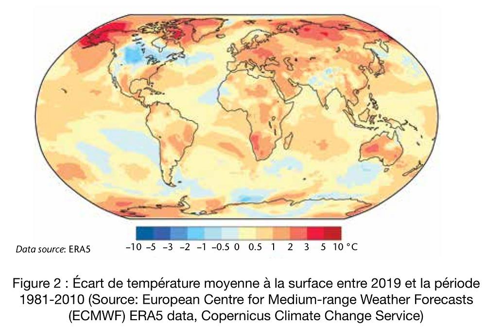 Écart de température moyenne à la surface entre 2019 et la période 1981-2010