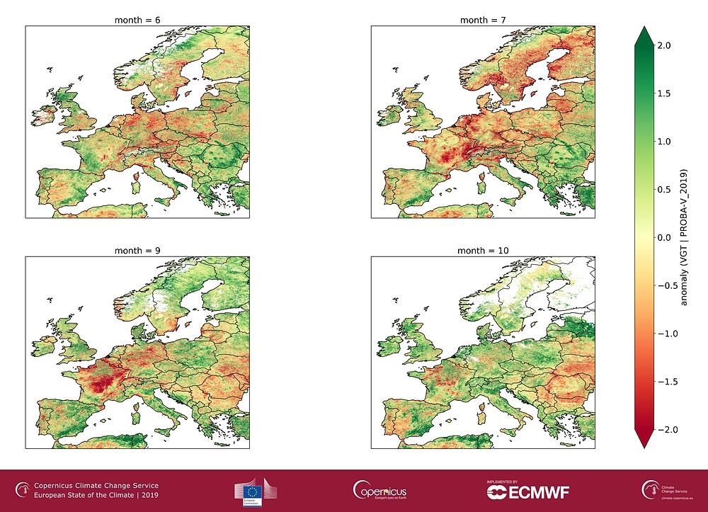 Écarts de l'indice de surface foliaire pour les mois de juin, juillet, septembre et octobre 2019 par rapport à la période de référence 1998-2014. Ces cartes sont déduites à partir de données satellites.