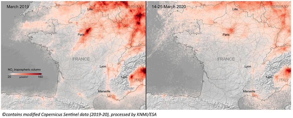 Évolution de la concentration de NO2 atmosphérique entre mars 2019 et 2020