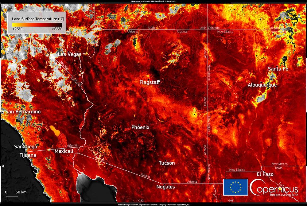 Image acquise par l'instrument SLSTR à bord de la constellation Sentinel 3 montant la température de la surface du sol le 18 juin 2021 au niveau des Etats-Unis (© European Union, Copernicus Sentinel-3 imagery).