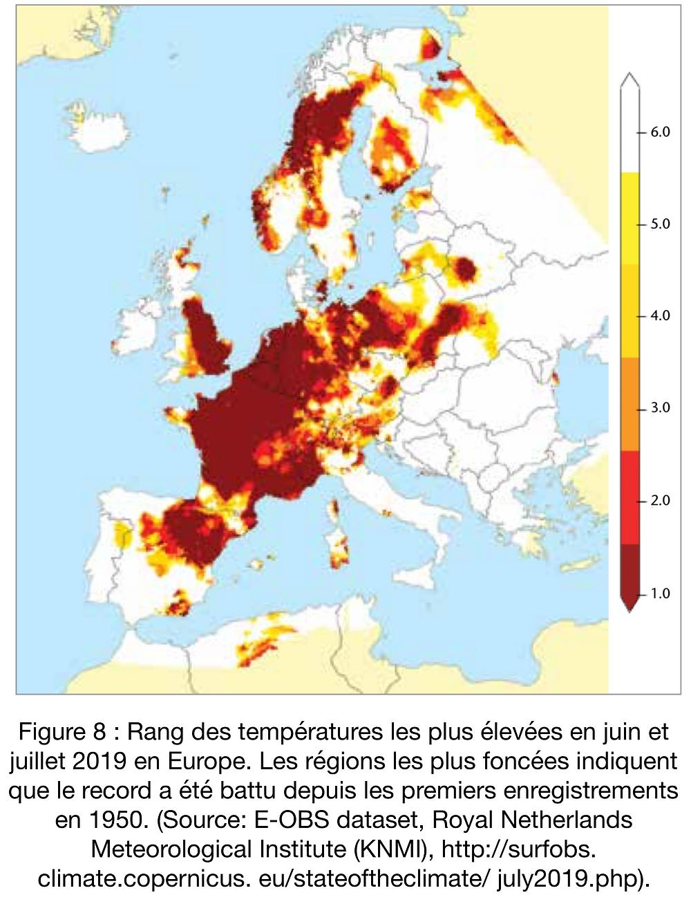 Rang des températures les plus élevées en juin et juillet 2019 en Europe