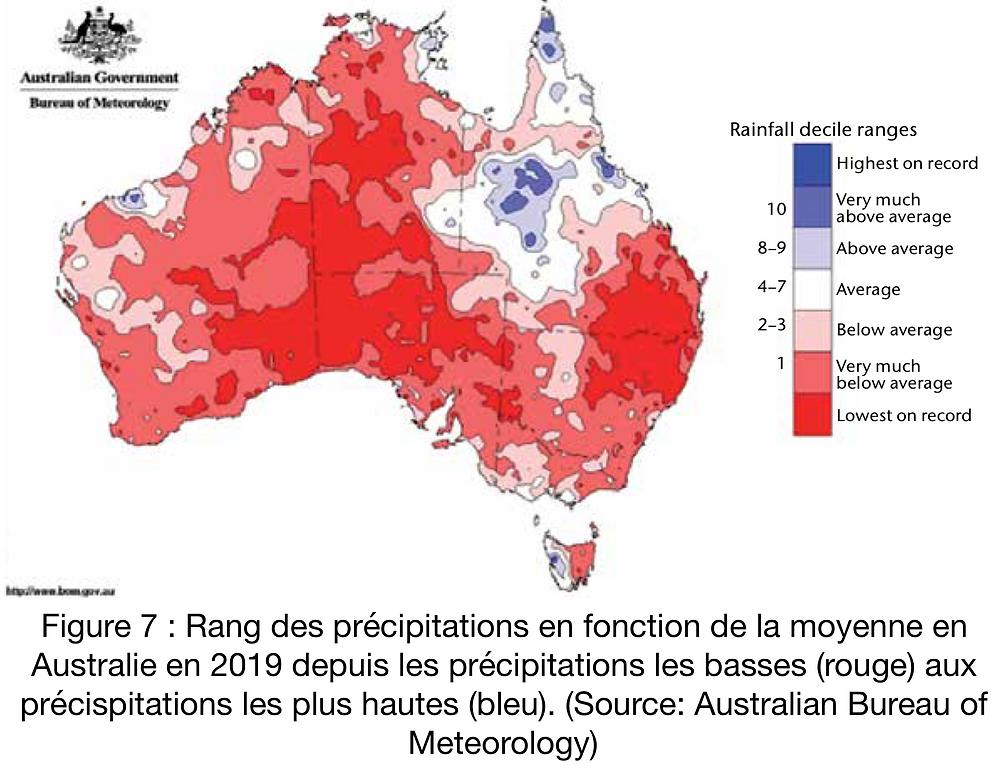 Précipitations en Australie en 2019