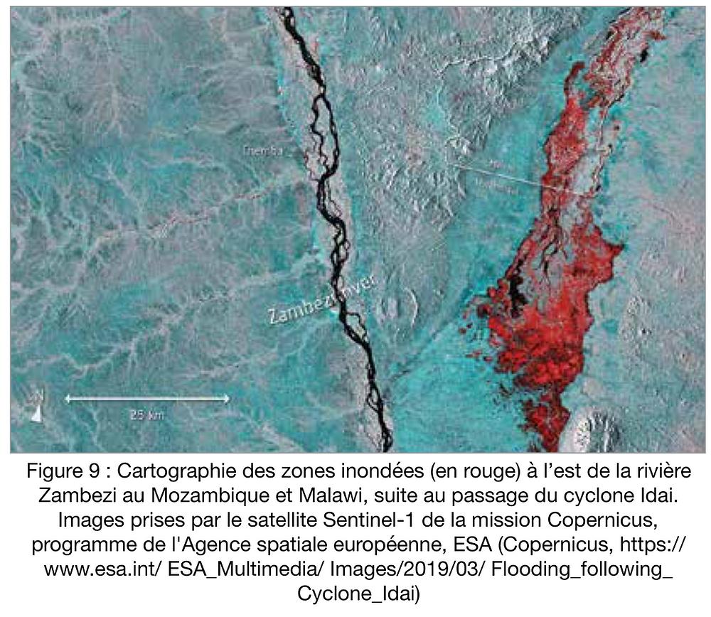 Cartographie des zones inondées au Mozambique et Malawi suite au passage du cyclone Idai. Images prises par le satellite Sentinel-1 de la mission Copernicus de l'ESA