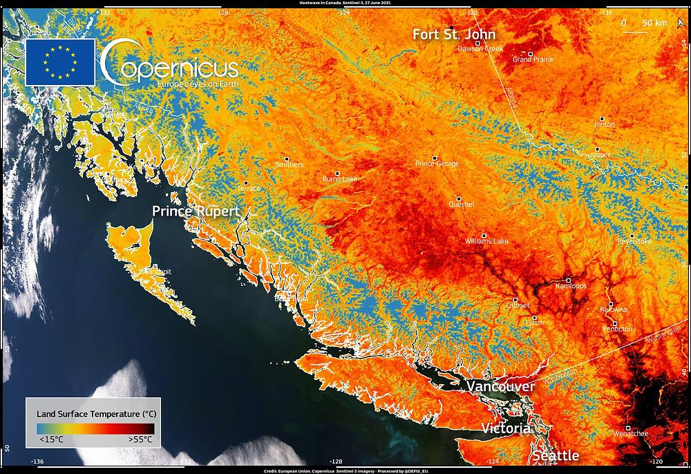 Image acquise par l'instrument SLSTR à bord de la constellation Sentinel 3 montant la température de la surface du sol le 27 juin 2021 au niveau du Canada et des Etats-Unis (© European Union, Copernicus Sentinel-3 imagery).