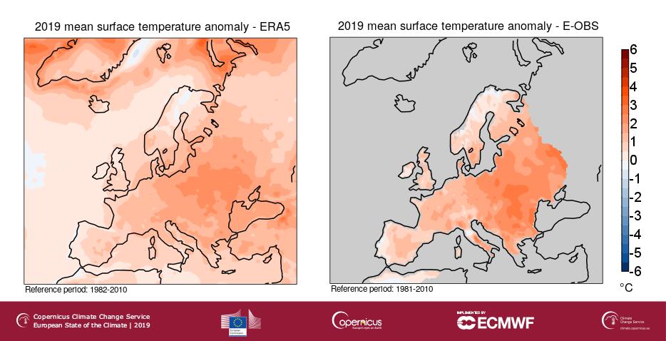 Écarts de températures moyennes en 2019 par rapport à la période 1981-2010.