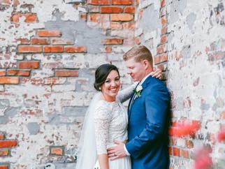 Bride and Groom, Courtyard, Exposed Brick.
