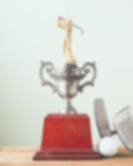 Golf Clubs, Ball and Trophy