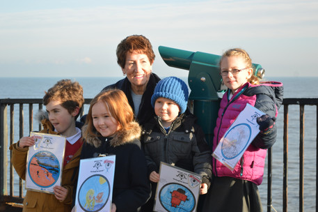 Telescope competition winners with Mayor
