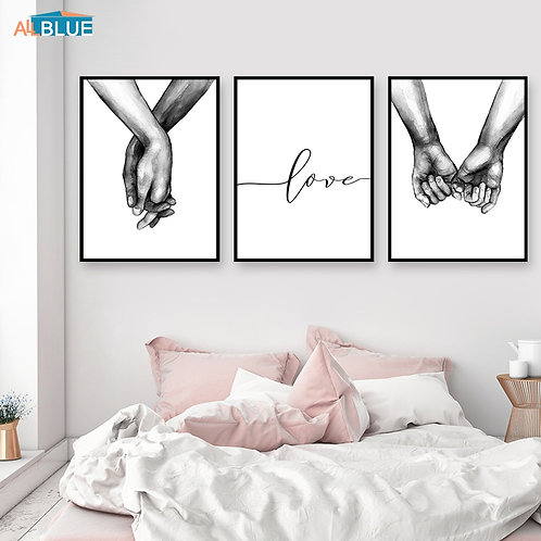 """Black and White """"Love"""" & """"Holding Hands"""" prints"""