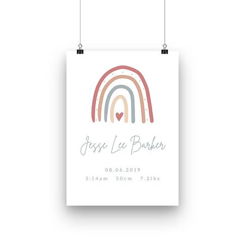 Custom Birth Info Print | Rainbow