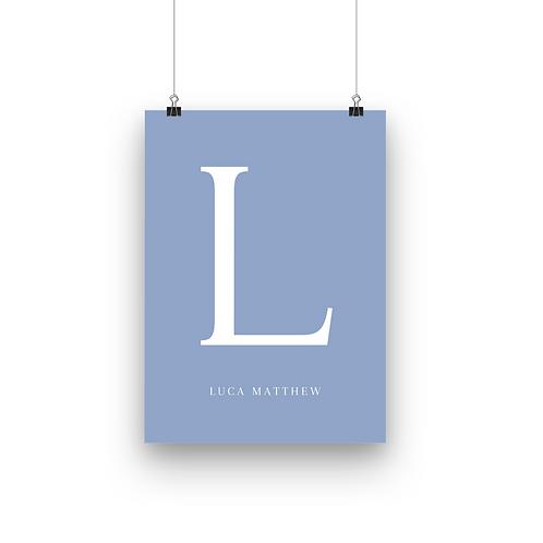 Custom Letter & Name   Blue