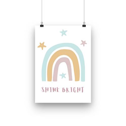 Shine Bright Rainbow Print | Mustard