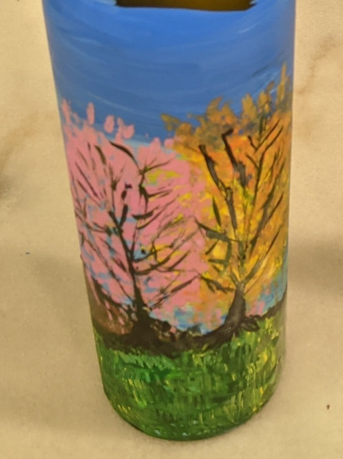 hand painted wine bottle trees