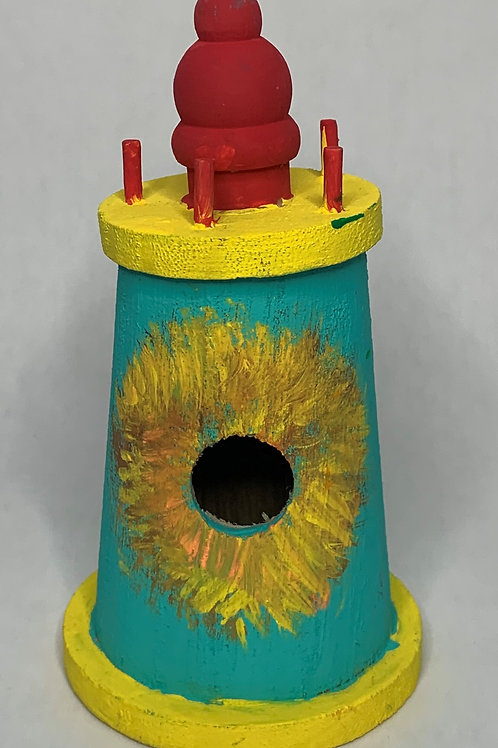 Yellow and teal Light house birdhouse