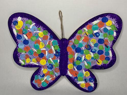Purple Blue wooden butterfly