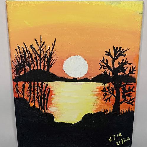 At the lake at sunset