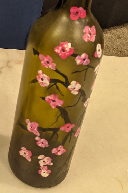 hand painted wine bottle flowers