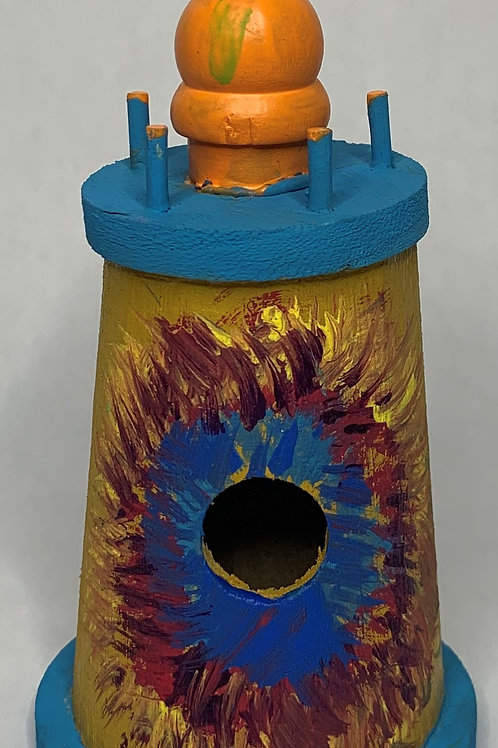 yellow and blue lighthouse birdhouse