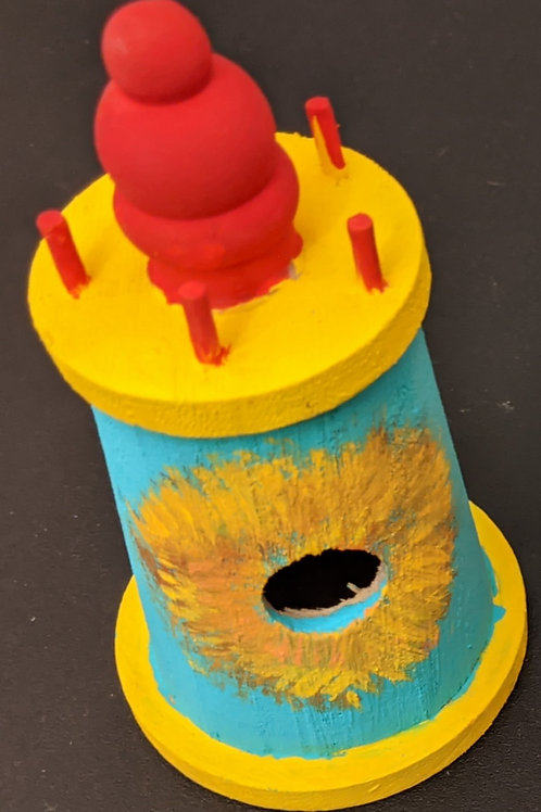 Yellow and Blue Light house birdhouse