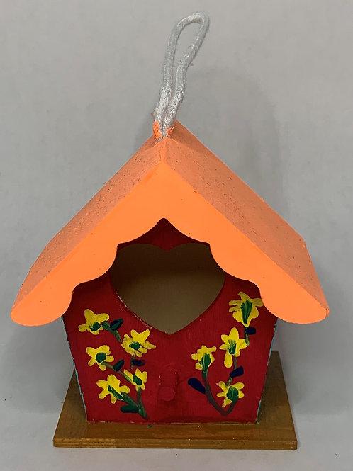 orange roof/red front birdhouse